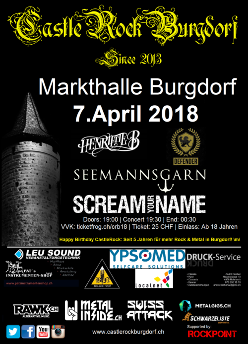 Flyer Castlerockburgdorf 2018 Rock Metal Konzert