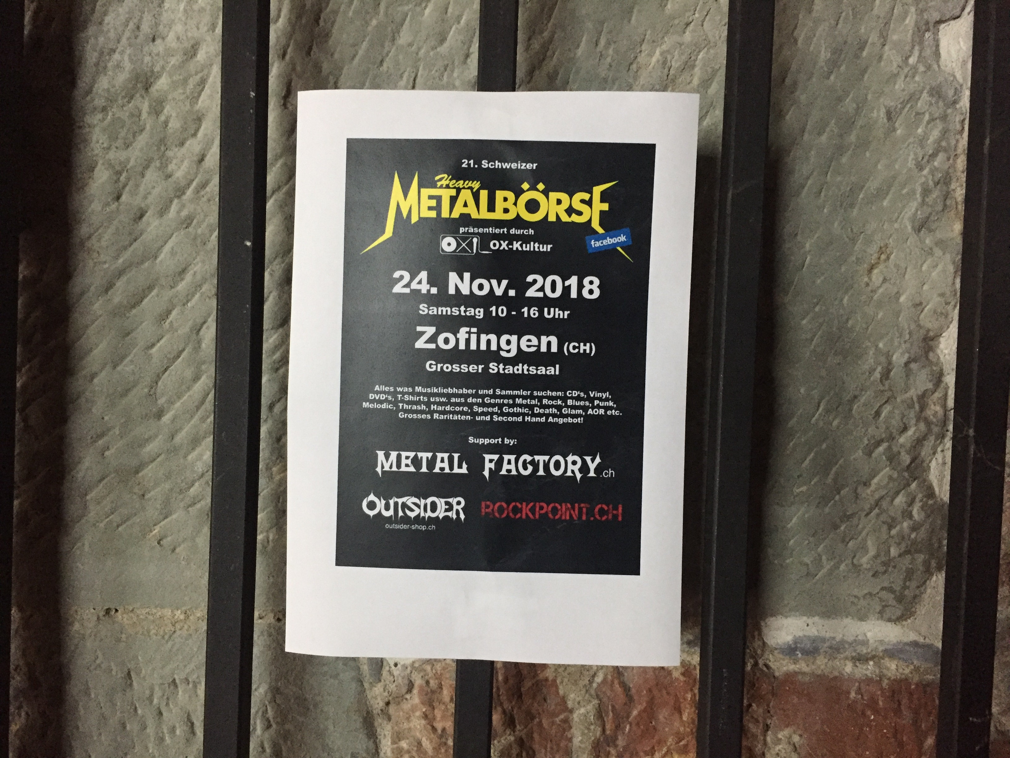 Kulturnacht Burgdorf Schlosskeller Metalbörse Schweiz